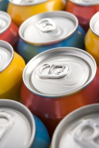 Close Up Of Multi Colored Soda Cans
